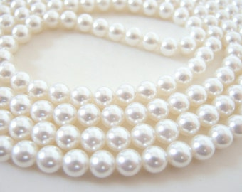 58 Inches Vintage 8mm Loose Strung Pearls (approx. 180)