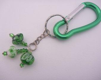 Key Ring carabiner style featuring Artisan Lamp-work Glass beads