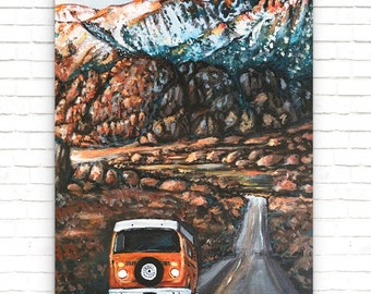 California VW Roadtrip Painting (Art Print)