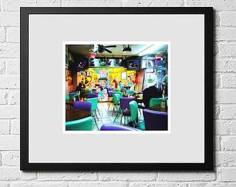 Cafe, Mexico Photography, Travel Photos, Colourful Wall Art, Colourful Photography, Colourful Photography Print, Home Decor Prints, Digital