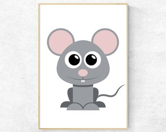 Mouse Print, Mouse Wall Art, Kids Room Wall Art Prints, Nursery Decor, Nursery Wall Art, Animal Printable Wall Art, Digital Poster Download
