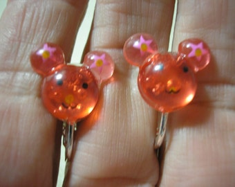 """Play Earring - Clip or Pierced - Happy Mouse - Clear Red - 5/8"""""""