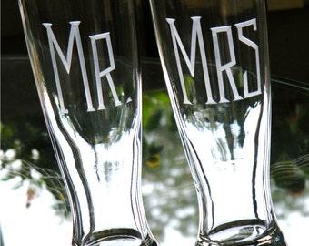 Modern Wedding, Shower, Engagement Gift- Hand Engraved MR & MRS Pilsner Toasting Glasses for Bride and Groom Newly Weds