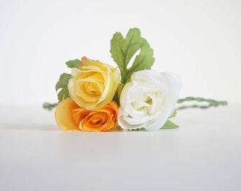 yellow, orange and white rose crown/braided headband