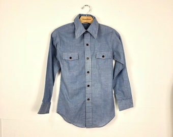 70's vintage embroideried chambray shirt button up size 14