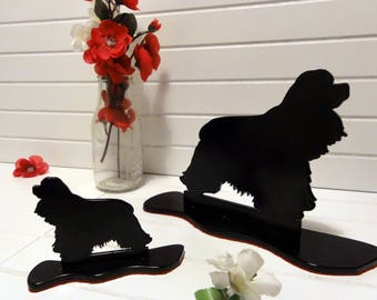 Cocker Spaniel Themed Black Metal Silhouette Dog Ornament by Sityu. 'Berry' Red Felt Base. Unique Gift or Present For Cocker Spaniel Lovers