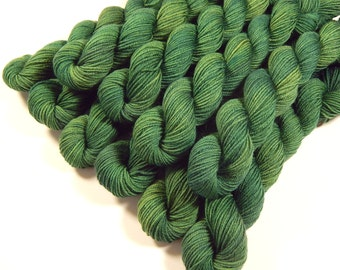 Sock Yarn Mini Skeins, Hand Dyed Yarn, Sock Weight 4 Ply Superwash Merino Wool Yarn, LAUREL, Knitting Yarn, Fingering Yarn, Green Tonal
