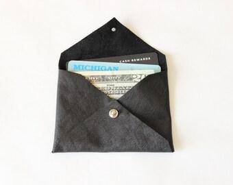 Repurposed Leather Card Holder Mini Wallet / Black