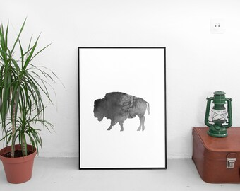 LIMITED TIME! Buffalo print | buffalo art blue Buffalo, New York print | buffalo decor | Buffalo, NY | Buffalo home decor