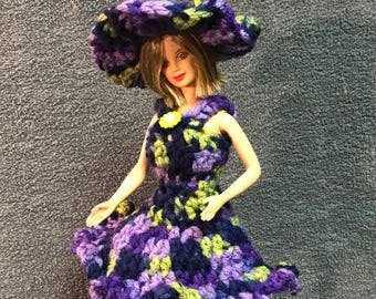 Barbie Dress and Hat in Purple and Green