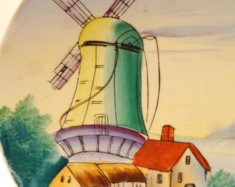 Hand-Painted Windmill Scene Hanging Plate-Made in Japan