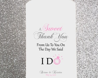 W21, A Sweet Thank You, Wedding Candy Bag, Wedding Candy Buffet, Candy Favor Bags, Treat Bags, Kraft Bags, Personalized bags, Sweets Table