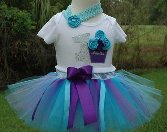 1st birthday girl outfit, blue and purple tutu dress,one year old, girl first birthday outfit,shabby chic,one year,tutu skirt,smash cake