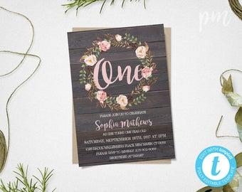 First Birthday Invitation, 1st Birthday Invitation, Pink Floral Printable Invitation, Girl Birthday, 1st Birthday Invite, Floral Invitation