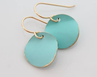 Turquoise Earrings, Round Turquoise and Gold Earrings, Turquoise Jewelry, Dangling Turquoise Earrings 14k Gold Ear Wire, Coin Earrings