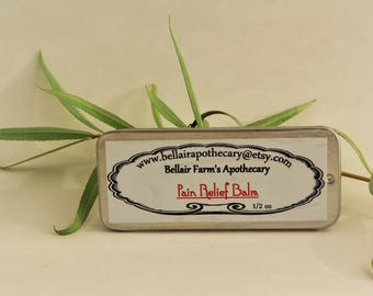 Pain Relief Balm.  Soothing herbal salve for Joint or Muscle pain with Willow, Hypericum, Goldenrod and custom essential oil blend