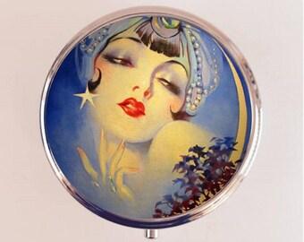 Art Deco Gypsy Pill Box Case Pillbox Holder Trinket Stash Box Moon Flapper Celestial 1920s