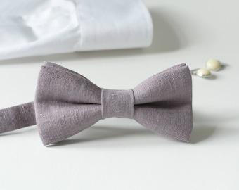 Old Lavender Linen Bow Tie - Dusty Purple Bow Tie - Grey Purple Ties - Best men Bow ties - Purple Wedding Ties