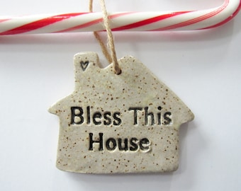 Bless This House Ornament with gift box - oatmeal glaze - ceramic clay, handmade