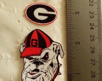 Georgia Bulldog Football 4pc set Iron On Fabric Appliques No Sew
