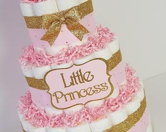 3 Tier Pink Gold Princess DIAPER CAKE w tutu skirt tiara