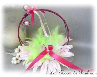 Ring holder pink green rings wedding feather gift married made-may