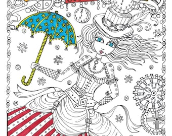 SteamPunk Girls Coloring Book for All Ages Fun, Quirky, Cute, digi stamps, digital, jpg, cardmaking