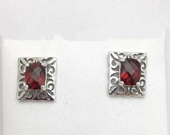 January Red Garnet Earrings - Art Deco Vintage Antique 14K White Gold Studs