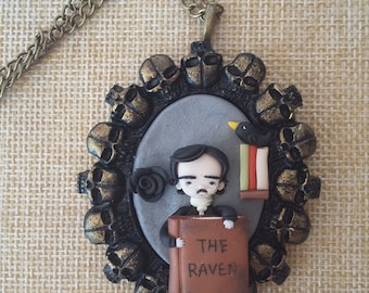 Edgar Allan Poe necklace polymer clay