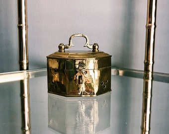 Vintage Brass Octagonal Cricket Box w/ Latch + Handle / Octagonal Catchall / Hinged Trinket Box