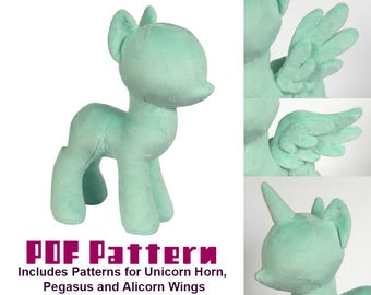 PDF Sewing Pattern - Pony Stuffed Animal Plush Toy - Unicorn, Pegasus, and Alicorn Options