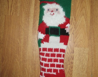 Hand Knit  Christmas Stocking Santa Out of Chimney Vintage/FOR 2018