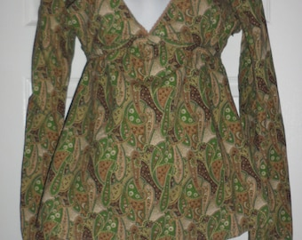 paisley mix of greens and browns cottom gypsy hippie style blouse fits several sizes