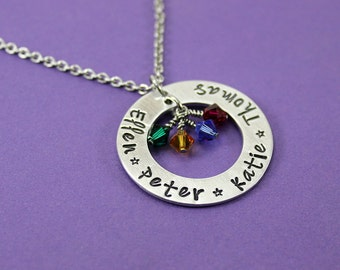 Personalized Mommy Necklace - Up to 4 Names Necklace - Grandmother Jewelry - Mother Gift - Engraved Mom Necklace - Grandma Necklace