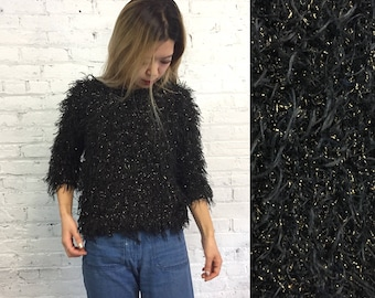 vintage 80s metallic black shaggy sweater / fuzzy glitzy knit top / black and gold lurex cocktail party sweater