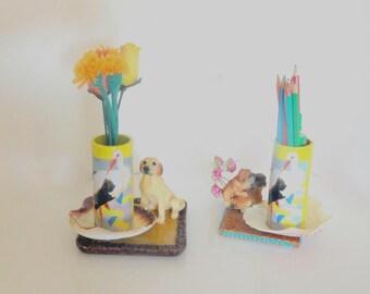pot pencils, vase, Stork, cigone desk table decoration