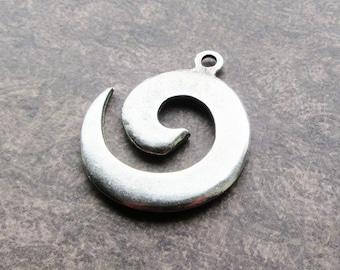 Pewter pendants etsy silver pewter spiral mykonos casting pendant 40mm 25mm bail boho greek quality ethnic tribal aloadofball Image collections