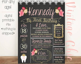 First Birthday Vintage Chic Pink, Cream and Gold Chalkboard like Poster. Printable/Digital File (any age!)