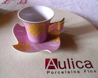 Coffee Set , Cup Saucer Set , Set of 6 , Aulica 24k Pink Porcelain , French Espresso / Demitasse , Coffee or Hot Chocolate Set Oh So French