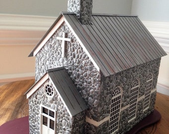Miniature Country Church/Stone Church- O scale & 1/4 scale-CIRCA 1870 Early America/model railroad/miniature collectible/tabletop display