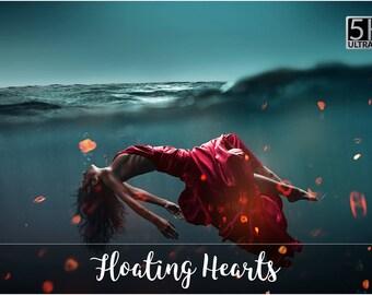 5K Floating Hearts Overlays