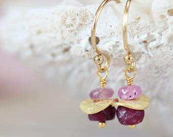 Gold Ruby Earrings - Precious Stone Earrings - July Birthstone Gift - Fine Jewelry - Pink & Red Gemstone Earrings - Precious Stone Jewellery