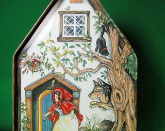 Vintage Red Riding Hood Candy Tin Cottage with Wolf & Woodsman