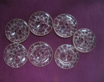 Vintage Clear White Veined Plastic Buttons for Art, Craft, and Sewing Projects