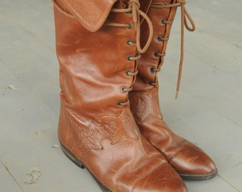 Joan and David New York Couture Brown Italian Half Calf Lace up Vintage Genuine Leather Designer Riding Boots 6.5