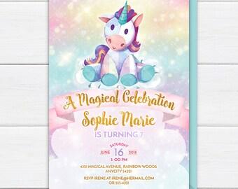 Unicorn Birthday Invitation, Cute Unicorn Rainbow Birthday Party Invite, Magical Celebration Watercolor Unicorn Printable Invitation