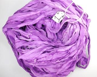Sari silk ribbon, Silk Chiffon sari ribbon, spinning supply, purple ribbon, tassel supply, weaving supply, crochet supply, knitting supply