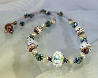 Flower Garden Lampwork Bead Necklace