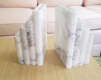Italian Marble Stacked Book Bookends White Vintage Pair Simple Modern Sophisticated Clean Decor Heavy White and Gray Stone Library