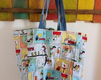 Peanuts Tote Bag; Peanuts Grocery Bag; Peanuts Everyday Tote/Bag; Peanuts Themed; Reversible Tote; Denim; Peanuts Comics